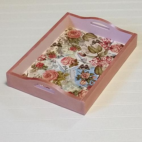 Decou page serving tray with rose gold project by decoart