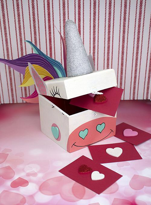 Painted Unicorn Valentine Card Box Project by DecoArt – Valentine Card Boxes