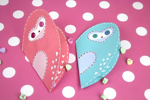 Painted Owl Valentine's Day Card