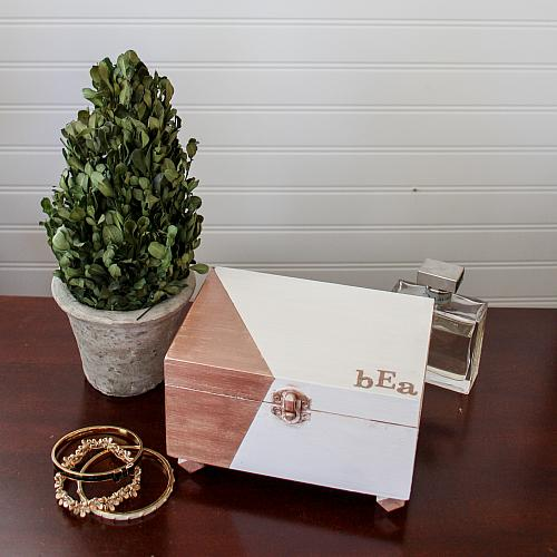 Geometric Rose Gold Jewelry Box Project by DecoArt