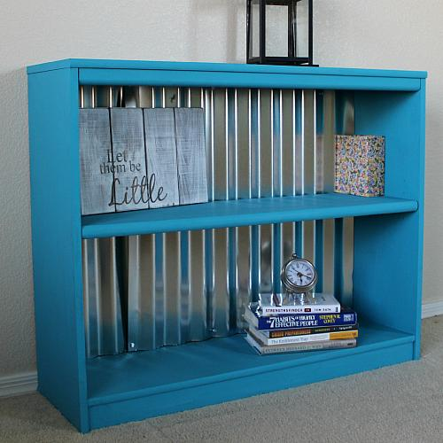 Industrial Inspired Corrugated Metal Bookshelf Project