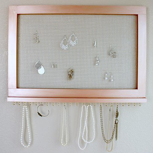 Rose Gold Earring And Necklace Organizer Project By Decoart