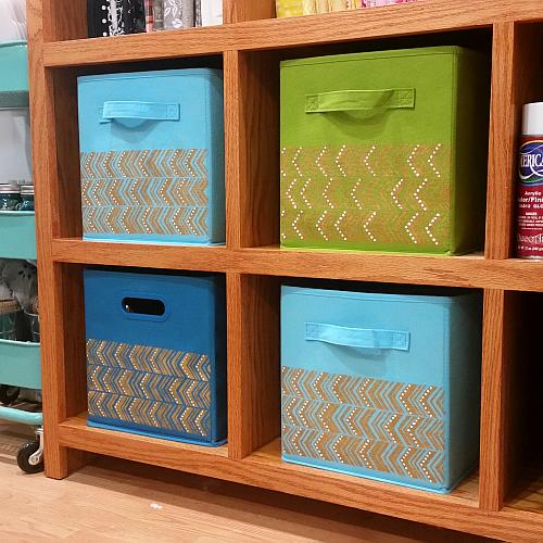 Stenciled Canvas Organizational Bins Project By Decoart