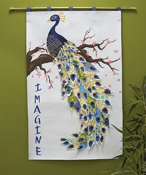 oriental peacock on cherry tree wall hanging project by decoart