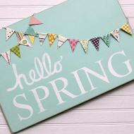 """Hello Spring"" Wooden Sign"