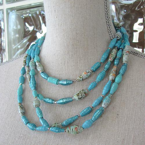 Paper Bead Necklace and Bracelet Set