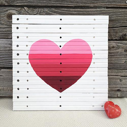 Easy Ombre Heart Art on Recycled Materials