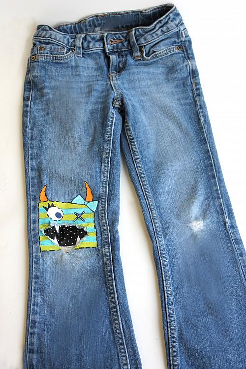 No Sew Monster Patch Jeans Painted With Sosoft 174 Project