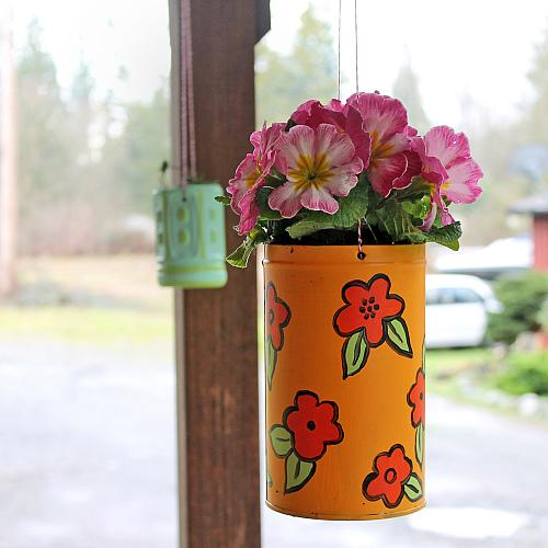 Colorful recycled hanging planters project by decoart for Colorful hanging planters