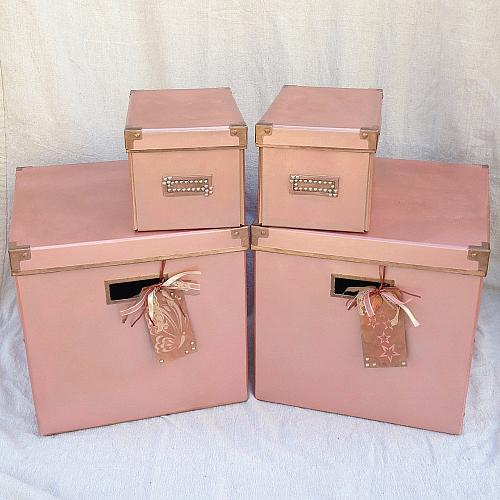 Classic Rose Gold Storage Bins Project By Decoart