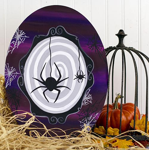 Halloween Spider Wooden Oval Wall Décor - Project by DecoArt
