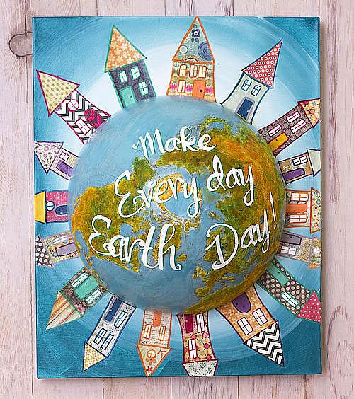 Earth Day Mixed Media Globe Canvas Project By Decoart