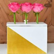 Geometric Metallic Flower Box