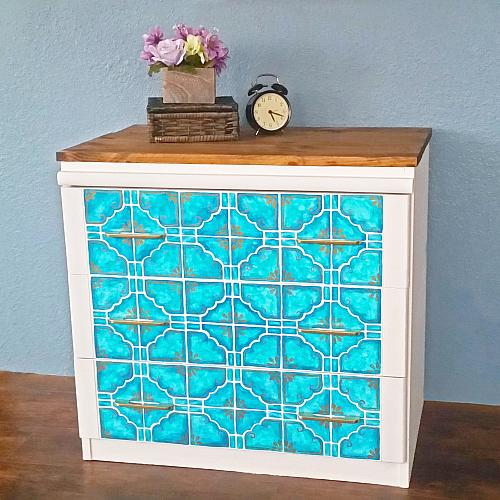 Custom Painted Tile Dresser Upcycle Project By Decoart