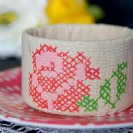 Upcycled Cross Stitch Cuff