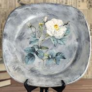 Pretty frosted floral square plate project by decoart for Decoration zinc