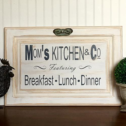 Quot Mom S Kitchen Amp Co Quot Cabinet Door Sign Project By Decoart