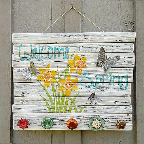 Quot Welcome Spring Quot Sign With Butterflies Project By Decoart