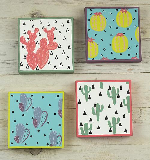 Painted Cacti Canvas Set Project By Decoart