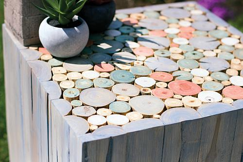 Beach House Style Pastel Stained Side Table
