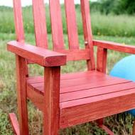 Stained Red Rocking Chair