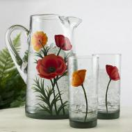 Ornamental Poppies Glass Set