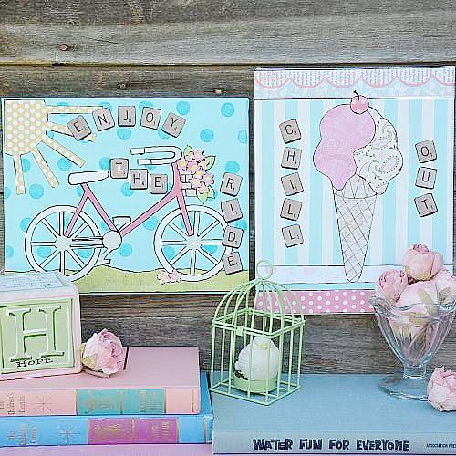 Summertime Bicycle and Ice Cream Canvases