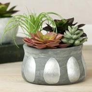 Metallic Oval Concrete Planter