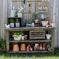 Stained Potting Bench Makeover