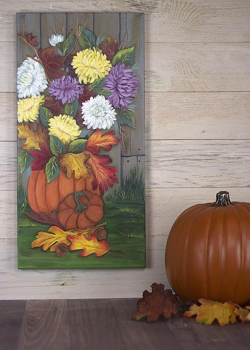Pumpkin And Mum Bouquet On Canvas Project By Decoart
