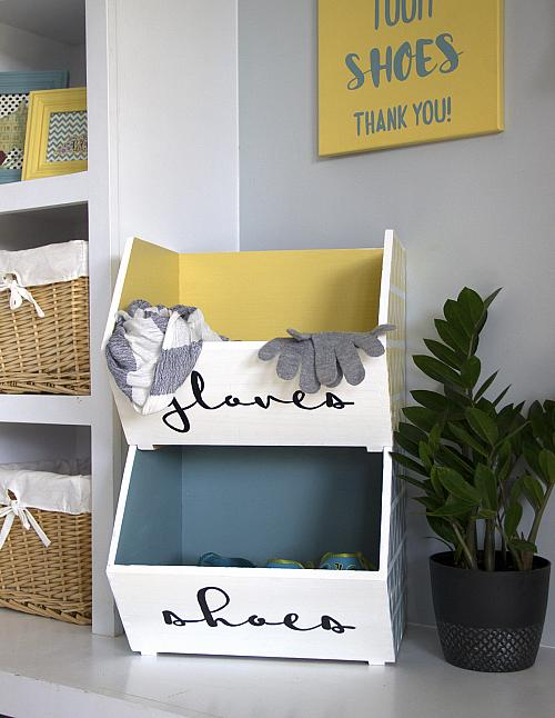 Gloves And Shoes Storage Bins   Project By DecoArt