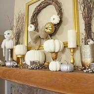 White and Gold Pumpkins and Stands