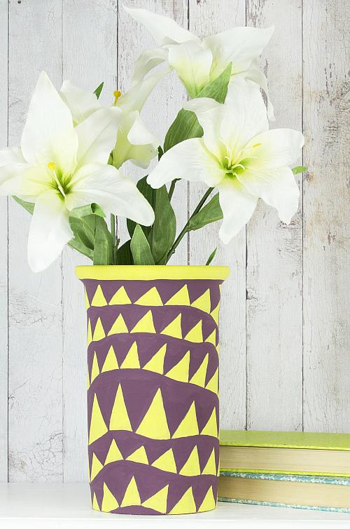 geometric vase modern geometric chalky finish vase project by decoart