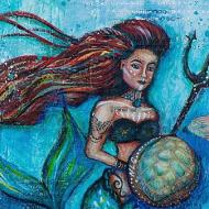 Mermaid Warrior Mixed Media Canvas