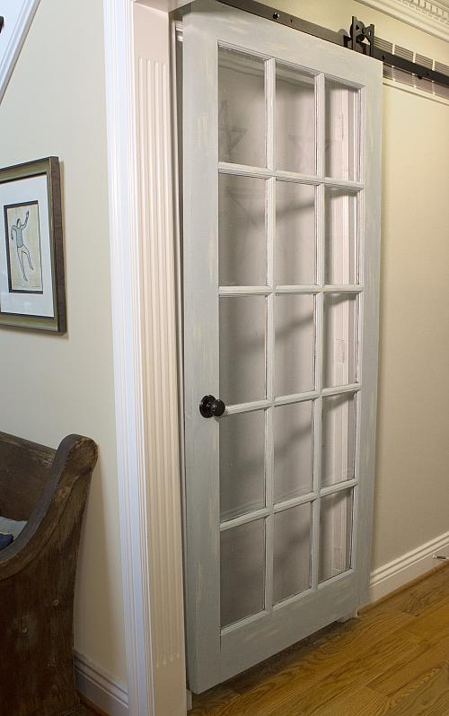 Sliding glass panel barn door project by decoart for Barn doors over sliding glass doors