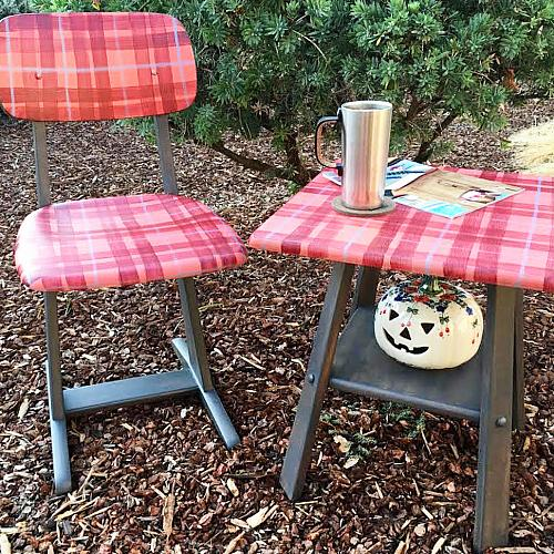 Matching Plaid Table and Chair