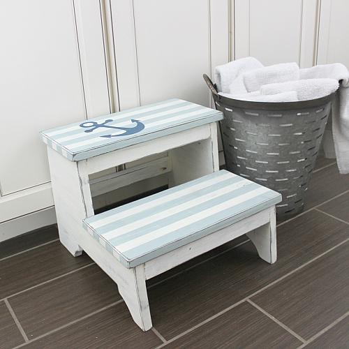 Nautical Striped Step Stool Project By Decoart