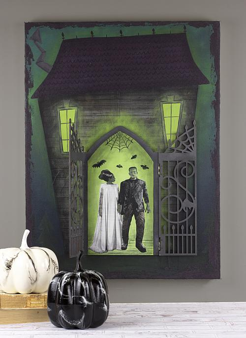 Mixed Media Haunted House With Opening Door Project By