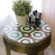 Ombre Stenciled Stool