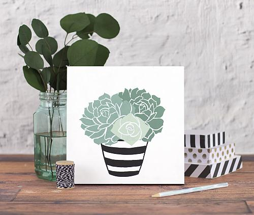 Stenciled Succulents In A Flower Pot Project By Decoart