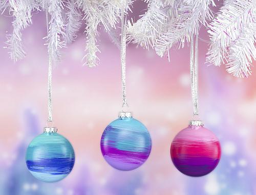 Glass Ombre Christmas Ornaments Project By DecoArt