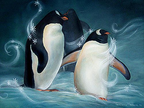 Flakes And Flurry Penguins On Canvas Project By Decoart