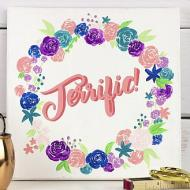 Hand Lettered Floral Wreath