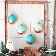 Painted & Copper Leaf Ornaments