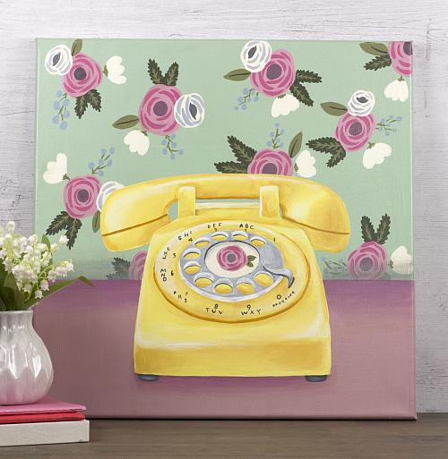 Vintage Telephone Painting with Floral Wallpaper