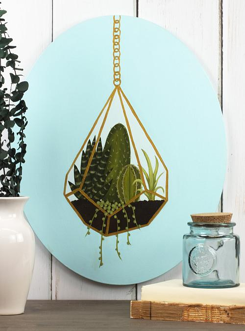 Succulent Terrarium Painting On Oval Canvas Project By