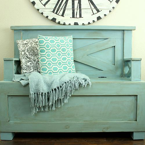 Large Entryway Distressed Bench Project By Decoart