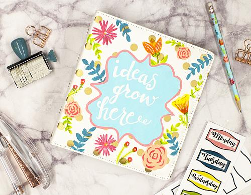 """Ideas Grow Here"" Floral Journal Planner"
