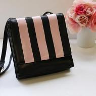 Pink and Black Striped Purse