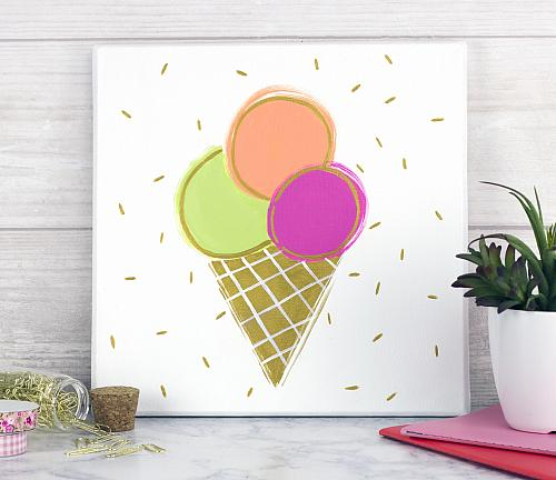 Triple Scoop Ice Cream Canvas Art